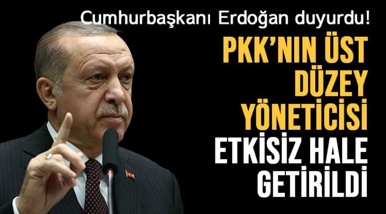 Erdoğan: Terör örgütü PKK'nın üst düzey yöneticisi ve Mahmur genel sorumlusu Bozkır etkisiz hale getirildi