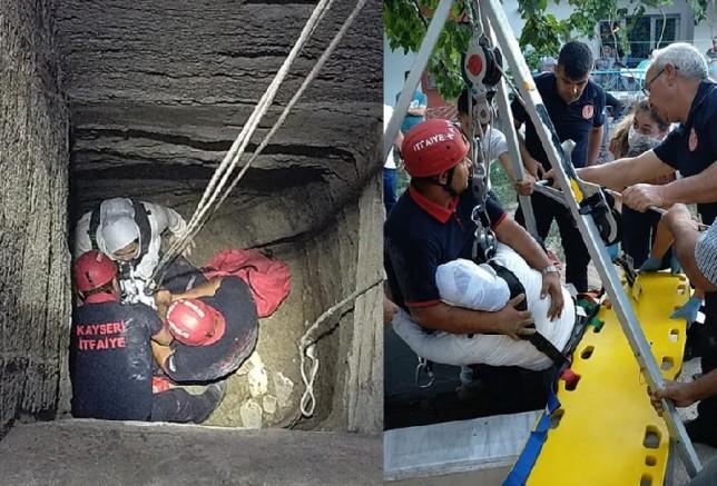 Kayseri'de 15 metrelik su kuyusuna düşen çocuk itfaiye ekiplerince kurtarıldı
