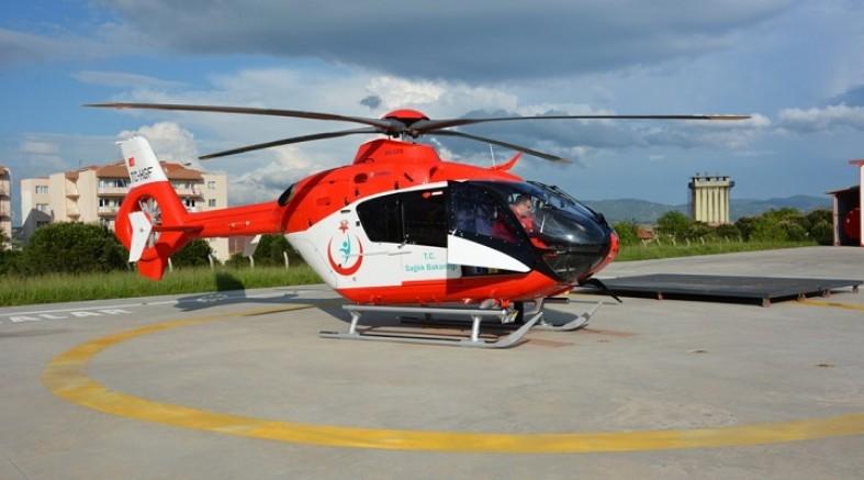 Kayseri'de helikopter ambulans felç geçiren hasta için havalandı