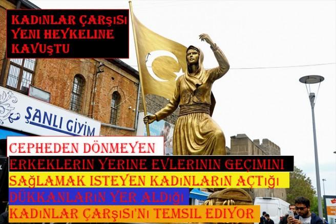 Kayseri' de Kadınlar Çarşısı yeni heykeline kavuştu