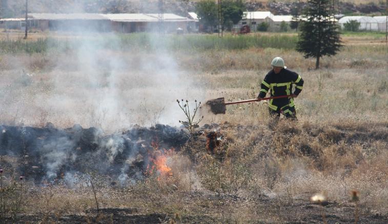 Kayseri'de yüksek gerilim hattına konan kuşların neden olduğu yangın söndürüldü