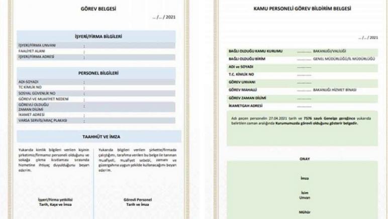 Manuel doldurulan Çalışma İzni Görev Belgesi'nin geçerlilik süresi 7 Mayıs'a uzatıldı