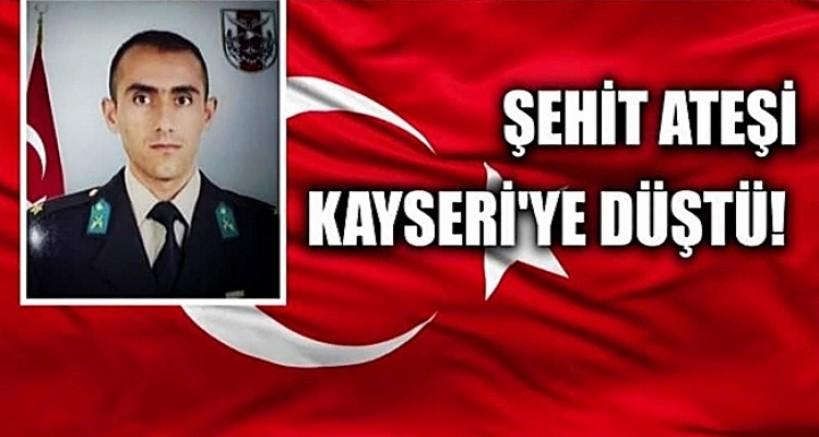 Şehit  piyade teğmen Burhan Sönmez'in naaşı Kayseri'ye getirildi