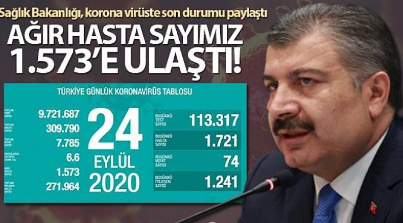 Türkiye'de 24 saatte Kovid-19'dan 74 kişi hayatını kaybetti 1721 kişiye  tanı konuldu