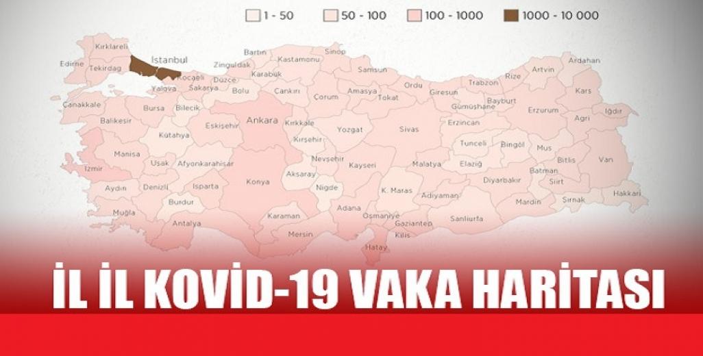 Türkiye 'nin il il Kovid-19 vaka haritası