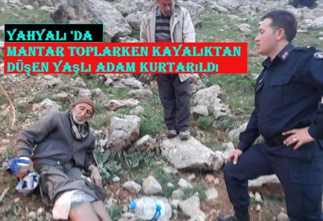 Yahyalı 'da Mantar toplarken kayalıktan düşen yaşlı adam kurtarıldı